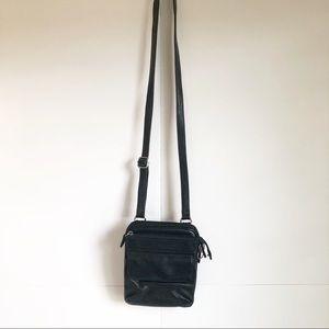 FOSSIL Black Cross body Bag Pebbled Leather Adjust
